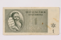 1990.331.1 front Theresienstadt ghetto-labor camp scrip, 1 krone note  Click to enlarge