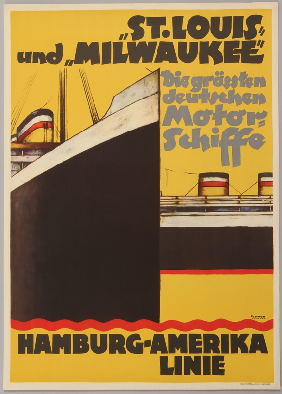 1990.333.1 front Poster advertising the flagships of the Hamburg-Amerika Line