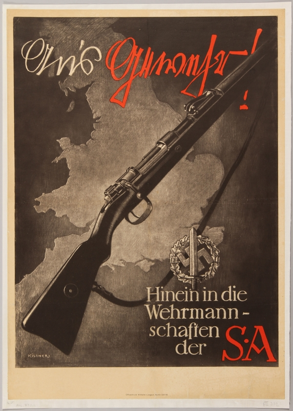 1990.333.11 front Black and white Sturmabteilung (SA) recruitment poster with a rifle over the British coastline