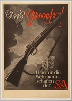 1990.333.11 front Black and white Sturmabteilung (SA) recruitment poster with a rifle over the British coastline  Click to enlarge