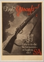 Black and white Sturmabteilung (SA) recruitment poster with a rifle over the British coastline
