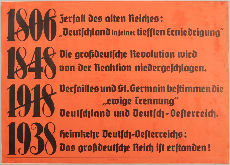 1990.333.12 front Text only poster declaring the Anschluss as a German Austria homecoming