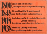 1990.333.12 front Text only poster declaring the Anschluss as a German Austria homecoming  Click to enlarge