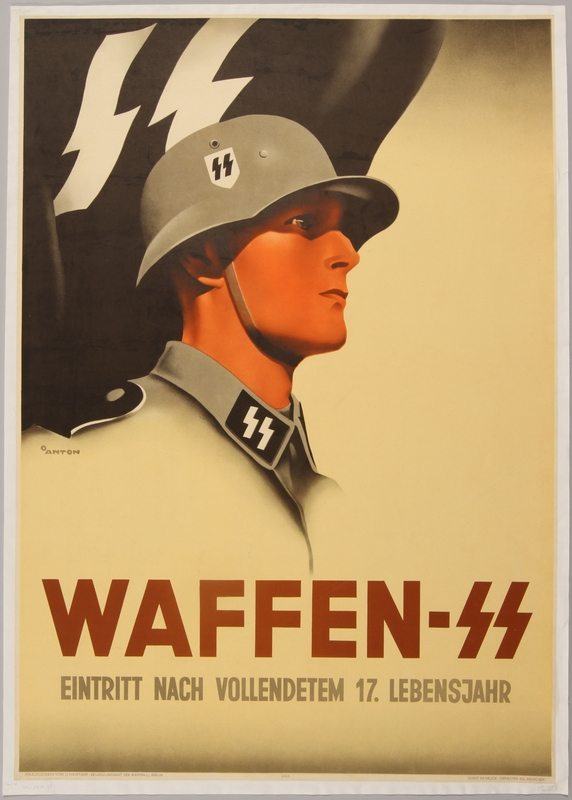 1990.333.13 front Waffen SS recruitment poster featuring a young uniformed soldier