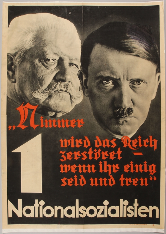 1990.333.14 front Pro-Nazi election poster with the faces of Hitler and Hindenburg