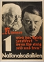Pro-Nazi election poster with the faces of Hitler and Hindenburg