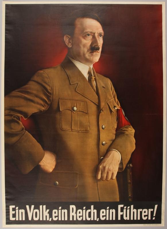 1990.333.16 front Color poster with a portrait of Hitler and the Nazi slogan: Ein Volk, ein Reich, ein Führer!