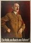 Color poster with a portrait of Hitler and the Nazi slogan: Ein Volk, ein Reich, ein Führer!