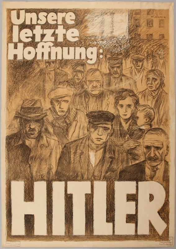 1990.333.17 front Pro Hitler poster featuring a crowd of forlorn people