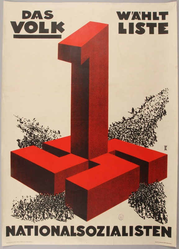 1990.333.18 front Pro-Nazi election poster with a giant red swastika and number 1