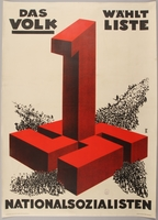 1990.333.18 front Pro-Nazi election poster with a giant red swastika and number 1  Click to enlarge