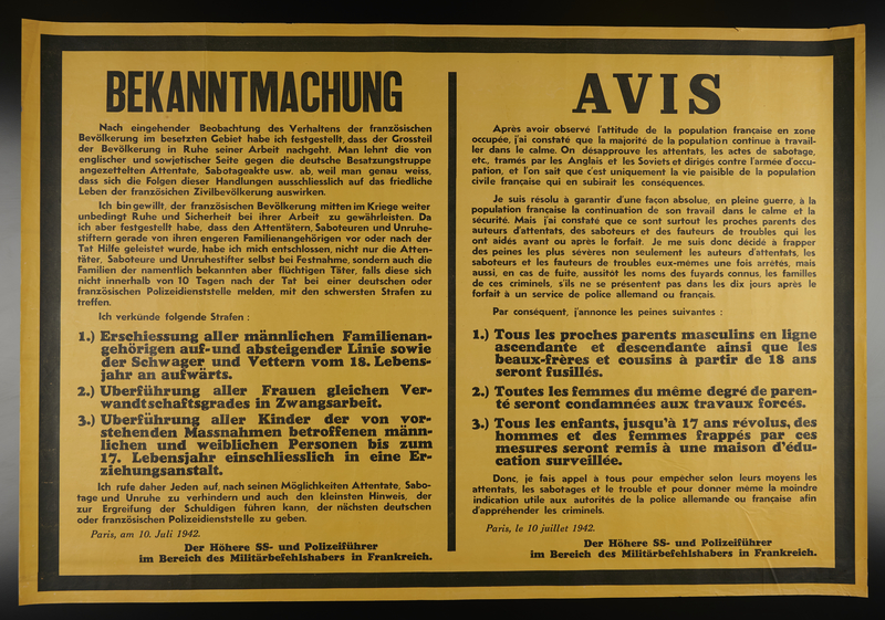 2009.213.7 front Dual language text only poster in yellow and black announcing sabotage penalties for attacks against the German occupying forces