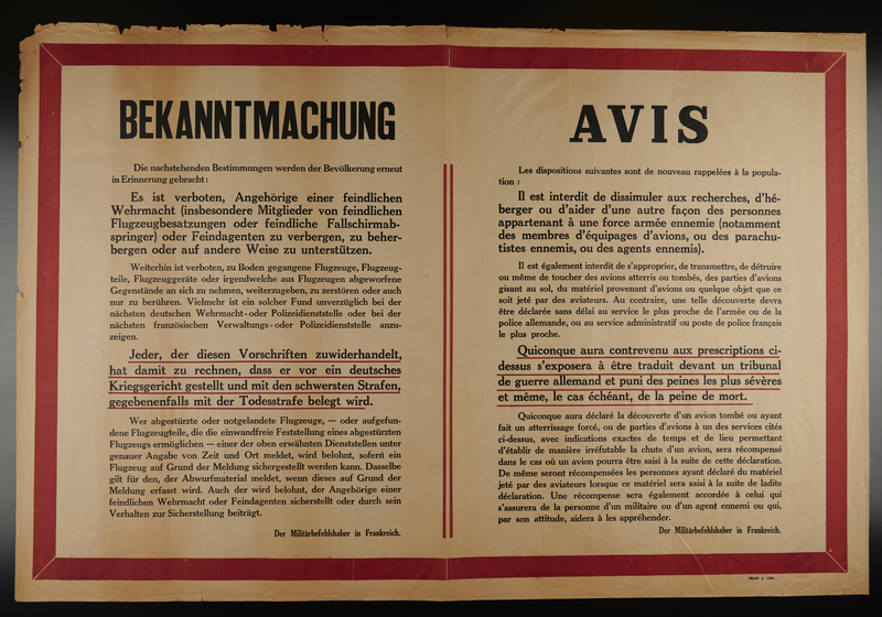 2009.213.8 front Dual language text only poster with a red border announcing penalties for those helping anti-German forces