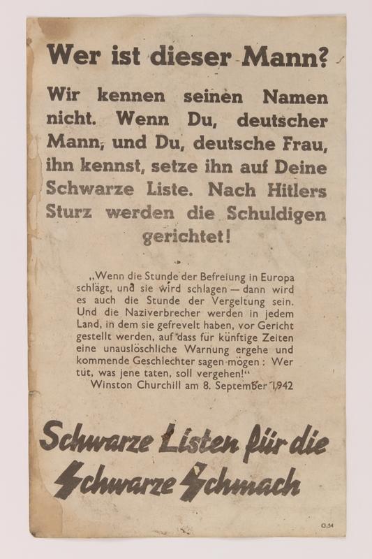 2009.81.1 back Anti-Nazi 2-sided propaganda handbill warning the German public of postwar retribution