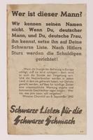 2009.81.1 back Anti-Nazi 2-sided propaganda handbill warning the German public of postwar retribution  Click to enlarge