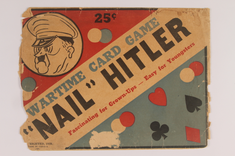 "2009.81.2 a front Canadian ""Nail"" Hitler board and card game with packaging"