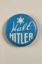 Halt Hitler blue and white anti-Nazi propaganda pin with a Star of David
