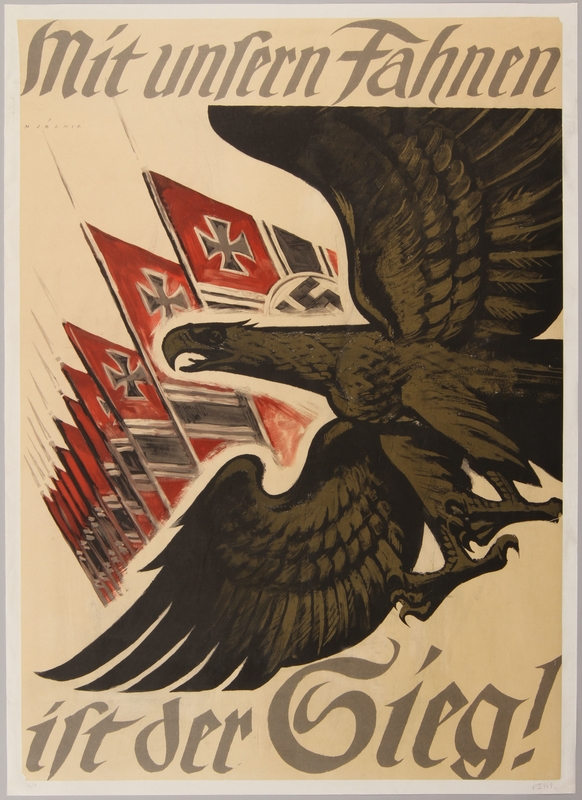 1990.333.15 front German propaganda poster featuring a gold eagle and Nazi flags