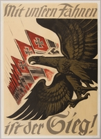 1990.333.15 front German propaganda poster featuring a gold eagle and Nazi flags  Click to enlarge