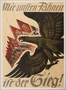 German propaganda poster featuring a gold eagle and Nazi flags