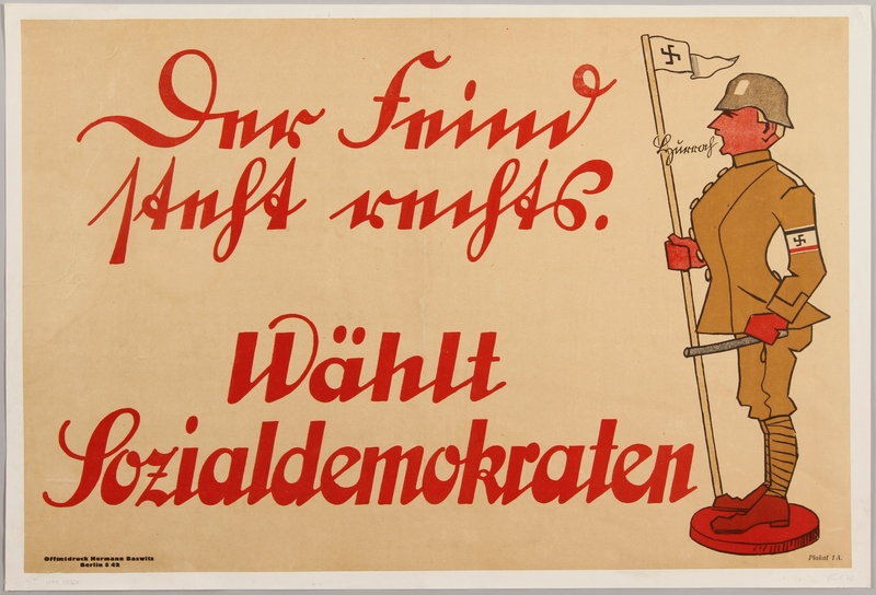 1990.333.2 front German Social Democratic Party anti-Nazi election poster
