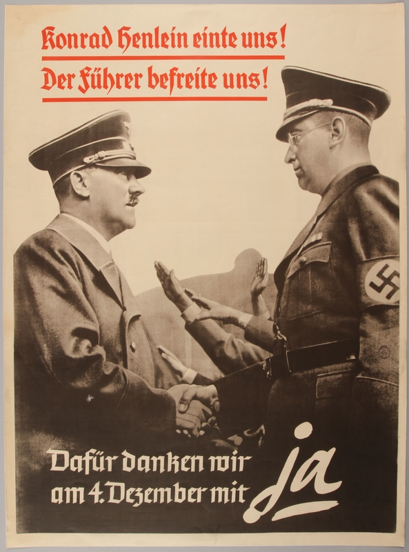 1990.333.20 front Poster of Adolf Hitler and Konrad Henlein shaking hands after the annexation of the Sudetenland