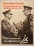 Poster of Adolf Hitler and Konrad Henlein shaking hands after the annexation of the Sudetenland