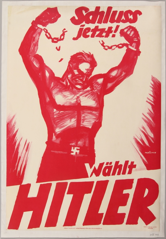 1990.333.21 front Pro-Nazi election poster of a giant worker breaking his shackles