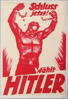 1990.333.21 front Pro-Nazi election poster of a giant worker breaking his shackles  Click to enlarge