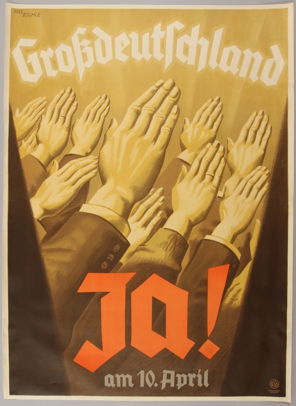 1990.333.22 front Poster encouraging the public to vote yes in the 1938 Anschluss referendum