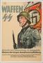 Waffen SS recruitment poster featuring a soldier and a Leibstandarte (SS Adolf Hitler flag)