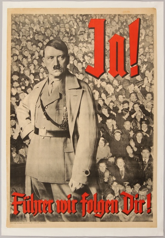 1990.333.27 front Nazi propaganda poster of Adolf Hitler in front of a mass of saluting people