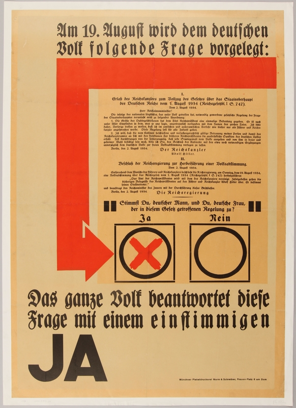 1990.333.28 front Broadside proclaiming public support for the declaration of Hitler as both Chancellor and President