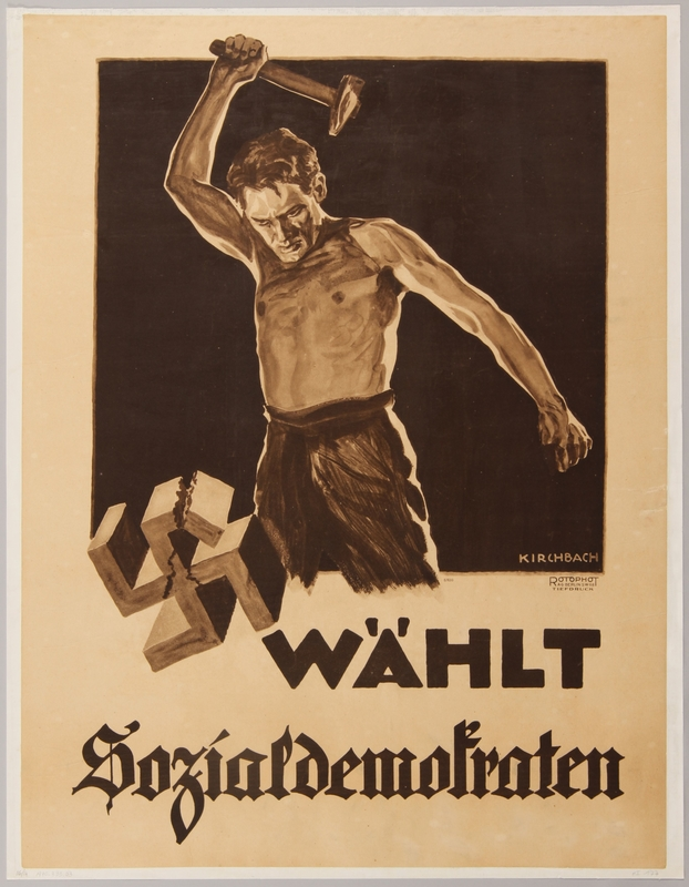 1990.333.3 front German Social Democratic Party election poster with a man smashing a swastika with a hammer