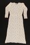 Patterned white gauze evening dress and sash brought with a Polish Jewish emigre