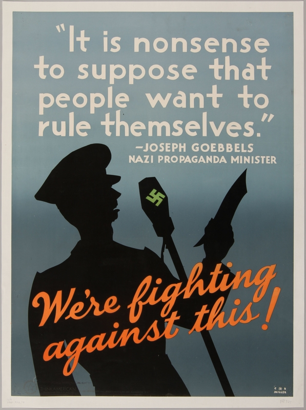 1990.333.34 front United States anti-Nazi poster of Joseph Goebbels reciting a speech
