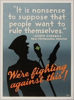 1990.333.34 front United States anti-Nazi poster of Joseph Goebbels reciting a speech  Click to enlarge