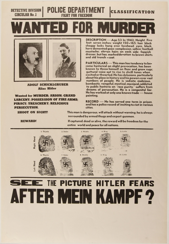 1990.333.36 front Satirical Hitler wanted for murder poster