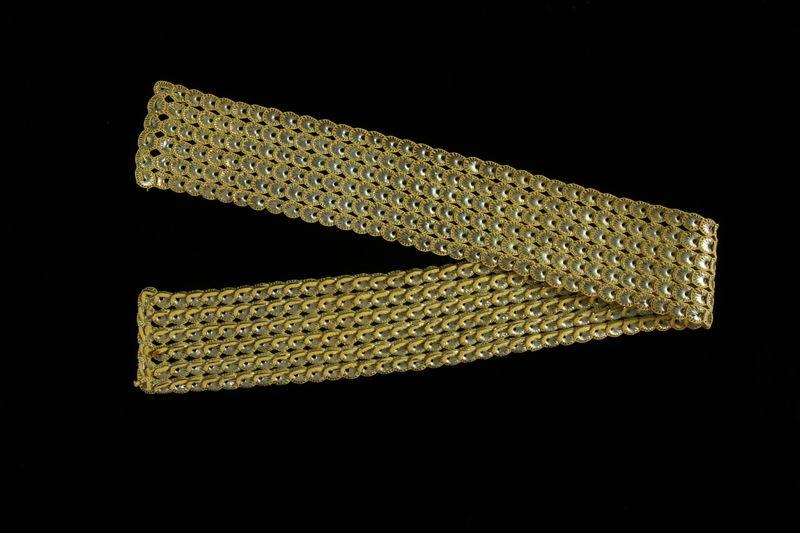 2009.117.26 front Metallic yellow and silver tallit atarah brought with a Polish Jewish emigre