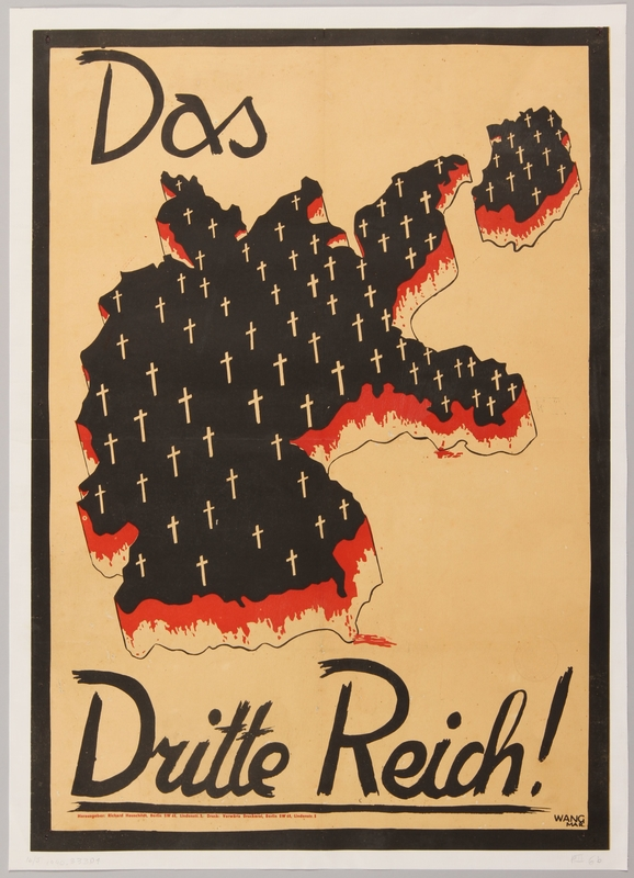1990.333.4 front Social Democratic Party election poster depicting Germany as a graveyard