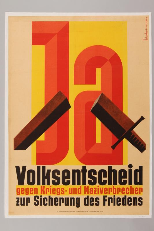 1990.333.43 front Ja Volksentscheid gegen Kriegs- und Naziverbrecher zur Sicherung des Friedens
