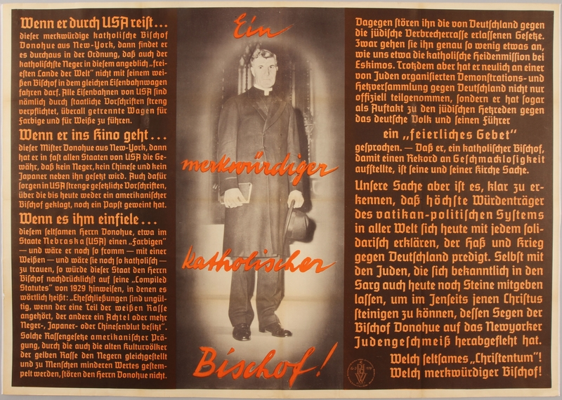 1990.333.47 front Nazi propaganda poster denouncing the US for criticizing Germany's Jewish policies