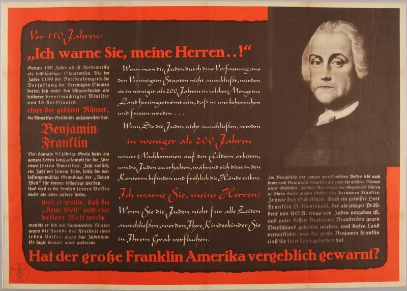 """1990.333.48 front Vor 150 Jahren: """"Ich warne Sie meine Herren ...!"""" Hat der große Franklin Amerika vergeblich gewarnt?"""