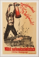 1990.333.5 front Nazi Party election poster with a man smashing a financial building with a battering ram  Click to enlarge
