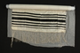 Striped silk tallit, green velvet bag and white liner used by a Czech Jewish refugee
