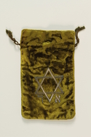 2009.147.2_c front Pair of tefillin with an embroidered green velvet bag used by a Czech Jewish refugee  Click to enlarge