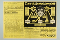1990.333.54 front Nazi propaganda poster exposing the Jewish conspiracy links to the Allied Nations  Click to enlarge