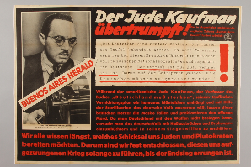 1990.333.57 front Nazi propaganda poster claiming American Jews want to exterminate the German people