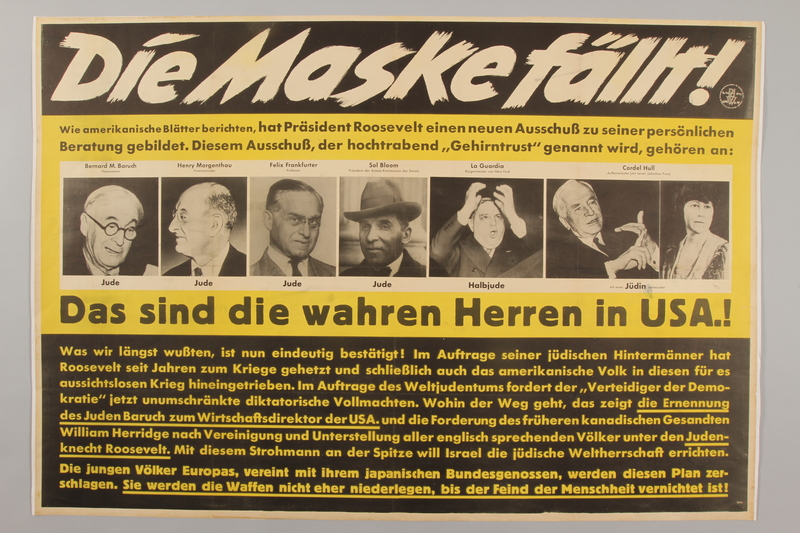 1990.333.58 front German antisemitic poster alleging Roosevelt's Brain Trust is comprised of Jews