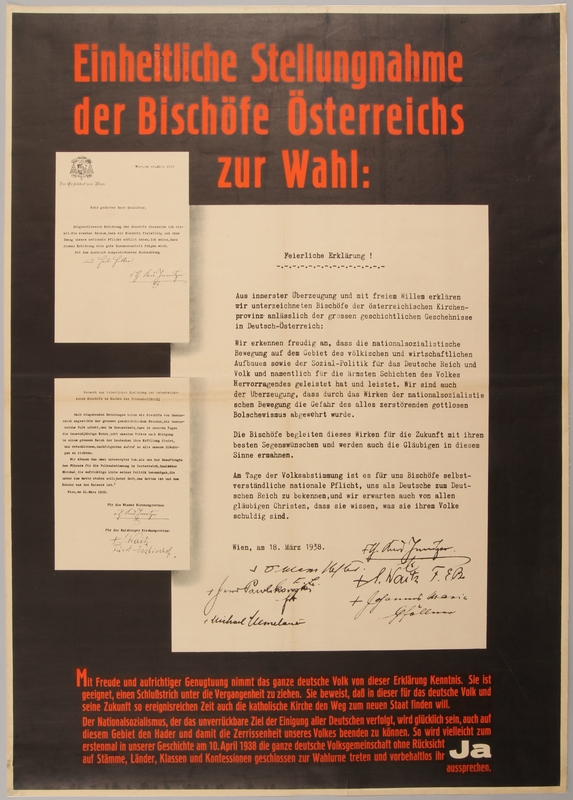 1990.333.6 front Poster expressing Austrian Bishops' support for Anschluss